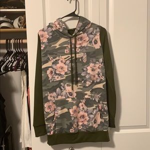 12 Pm By Mon Ami Tops - Floral and olive hooded sweatshirt